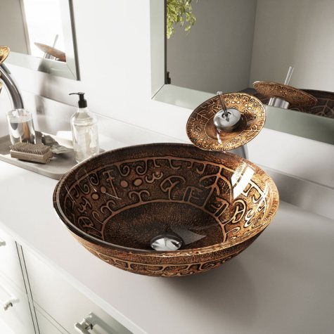 VIGO Golden Greek Glass Vessel Bathroom Sink