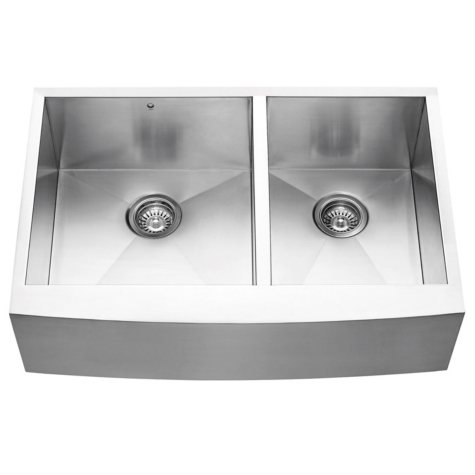 "VIGO 33"" Farmhouse Stainless Steel 16-Gauge Double-Bowl Kitchen Sink"