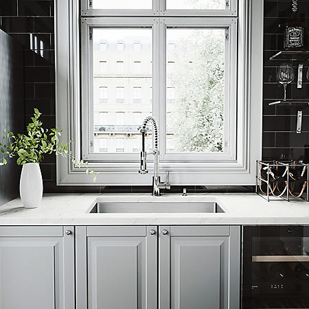 VIGO Undermount Stainless Steel Kitchen Sink, Faucet, Colander, Strainer and Dispenser