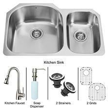 VIGO Undermount Stainless Steel Kitchen Sink, Faucet, Two Grids, Two Strainers and Dispenser