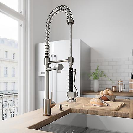 VIGO Zurich Pull-Down Spray Kitchen Faucet (Stainless Steel)