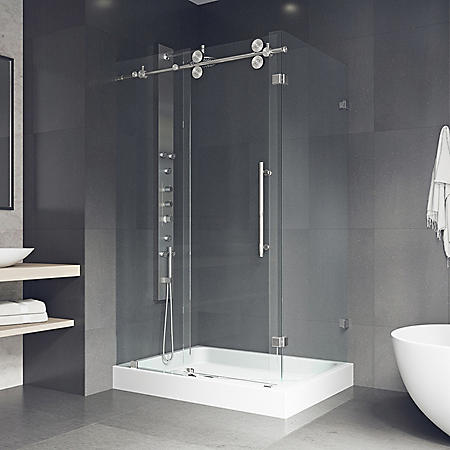 Vigo Winslow Frameless Sliding Door Shower Enclosure with Left Drain Base