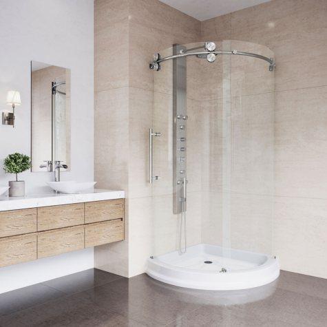 Vigo Sanibel Frameless Round Sliding Door Shower Enclosure with Left-Sided Opening and Base