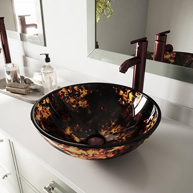 VIGO Brown and Gold Fusion Glass Vessel Sink and Faucet Set - Oil Rubbed Bronze