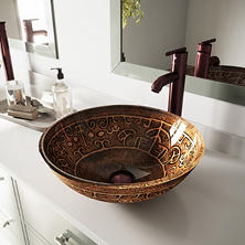 VIGO Golden Greek Glass Vessel Sink and Faucet Set - Oil-Rubbed Bronze