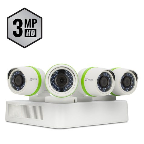 EZVIZ 4-Channel 3MP DVR Surveillance System with 1TB HDD, 4-Cameras 3MP Indoor/Outdoor Cameras