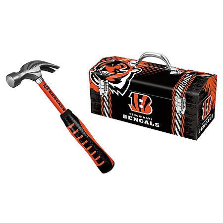 Cincinnati Bengals Steel Hammer and Tool Box Combo