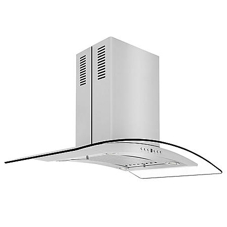 ZLINE 36-in. 760 CFM Island-Mount Range Hood in Stainless Steel & Glass