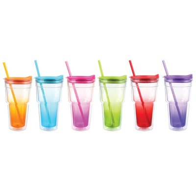 Insulated Tumblers with Straws 6 pcs Asst Colors Sams Club