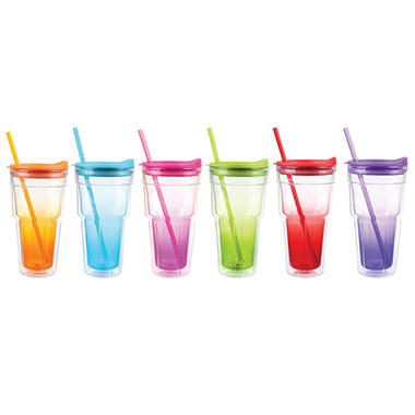 Insulated Tumblers with Straws - 6 pcs. - Asst. Colors
