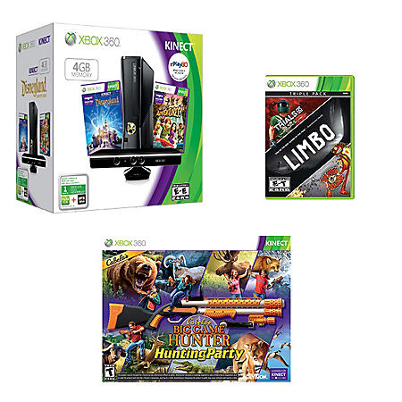 Xbox 360 4GB Kinect Holiday System with w/ Bonus games, Cabela's Hunting Party & Xbox Live Triple Pack