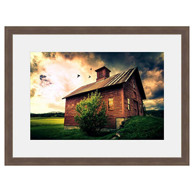Framed Fine Art Photography - Old Red Barn In The Gathering Storm By Jordan Stern