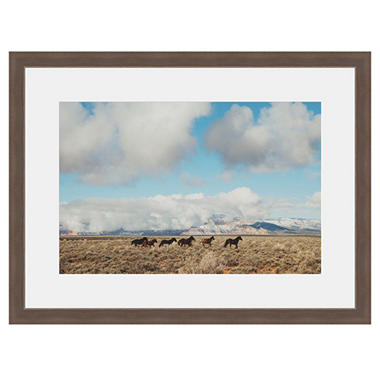 Framed Fine Art Photography - Wild Horses on the Big Sky Prairie by Kevin Russ