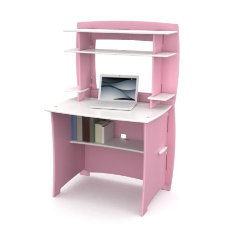 FTA Children's Desk and Hutch - Tool Free Assembly - Pink & White