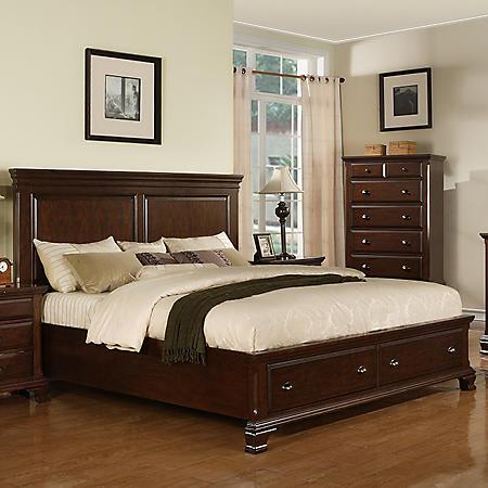 Brinley Cherry Storage Bed (Choose Size)