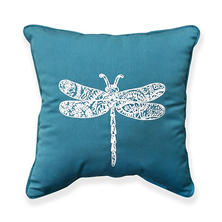 Dragonfly Square Toss Pillow with Sunbrella Fabric, Canvas Wave
