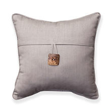 "16"" Square Toss Pillow With Button, Spectrum Dove Sunbrella Fabric"