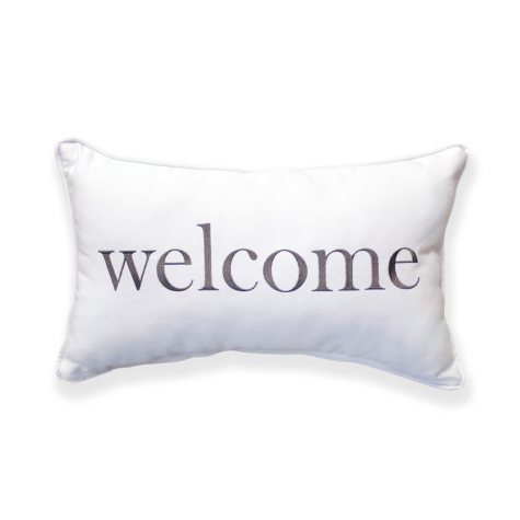 Welcome Canvas Toss Pillow with Sunbrella Fabric - Gray