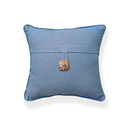 "16"" Square Toss Pillow with Button and Sunbrella Fabric, Spectrum Denim"