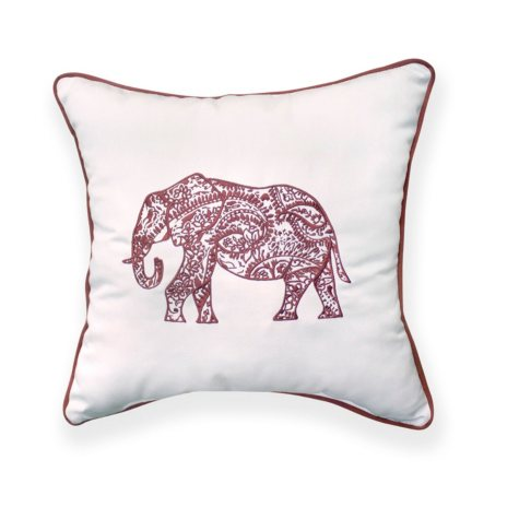 Elephant Square Toss Pillow with Sunbrella Fabric, Canvas