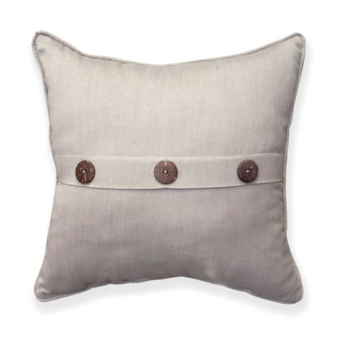 """16"""" Square Toss Pillow With Buttons and Sunbrella Fabric, Spectrum Dove"""