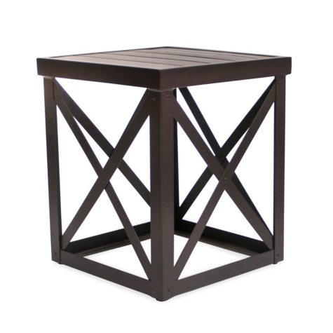 """Outdoor Aluminum Side Table, 18"""" x 16"""""""