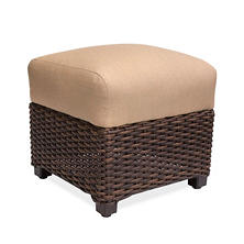 Outdoor Woven Ottoman With Sunbrella Fabric Cushion