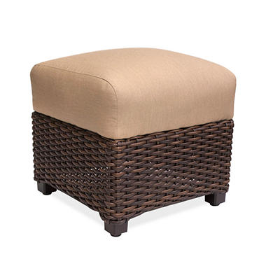 Outdoor Woven Ottoman With Sunbrella Fabric Cushion