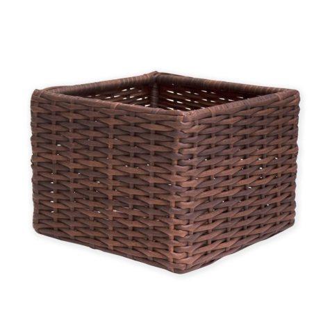 """Outdoor Wicker Storage Basket, 14"""" x 14"""""""