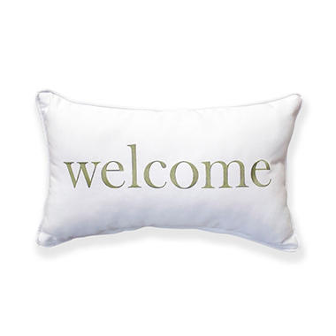 Welcome Canvas Toss Pillow with Sunbrella Fabric - Green