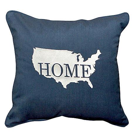"17"" Outdoor Toss Pillow - Sunbrella Spectrum Indigo Fabric with USA Home Embroidery"