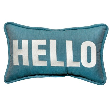 "12"" x 20"" Toss Pillow - Sunbrella Cast Lagoon Fabric with Hello Embroidery"
