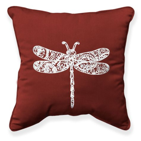 """17"""" Outdoor Toss Pillow - Sunbrella Canvas Henna fabric with Dragonfly Embroidery"""