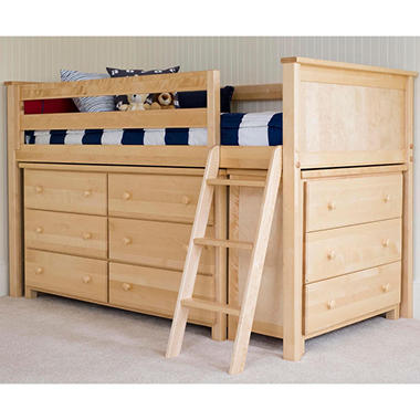 Twin Loft Bed with Dressers, 3-Piece Set (Assorted Colors)