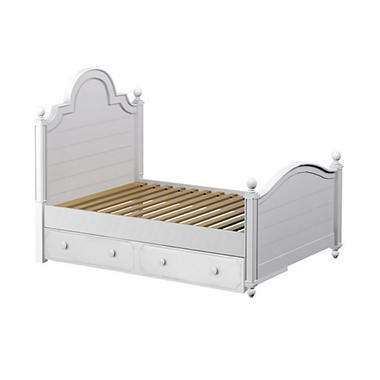 Sydney Bed with Trundle Bed, White (Full Size)