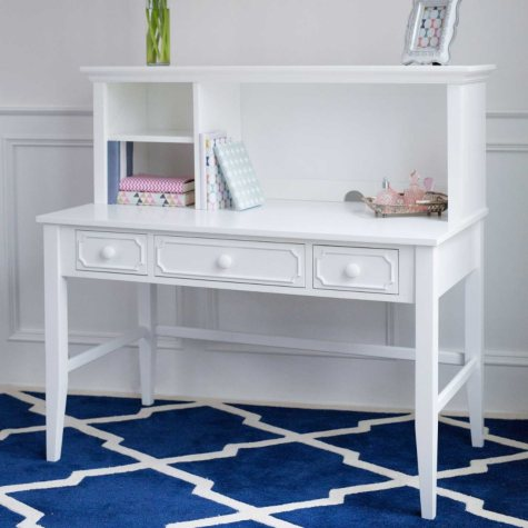 Cottage Desk with Hutch, White