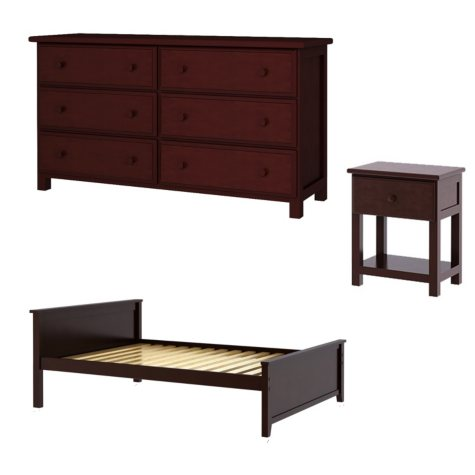 Full Bed with 6 Drawer Dresser + Nightstand Package (Assorted Colors)