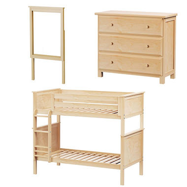 Twin Bunk Bed and Dresser with Mirror, 3-Piece Set (Assorted Colors)