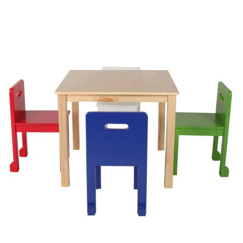 Max & Lily Square Table, Natural +  Toddler Chairs (Blue, Red, Green, White)