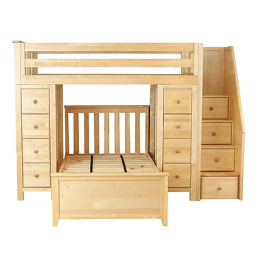 All-in-One Twin-over-Twin Staircase Loft Bed with 2 Dressers (Assorted Colors)