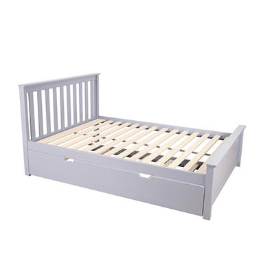 Max & Lily Solid Wood Full-Size Bed with Trundle Bed (Assorted Colors)
