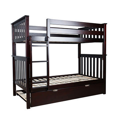 Max & Lily Solid Wood Twin/Twin Bunk Bed with Trundle Bed (Assorted Colors)