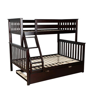 Max & Lily Solid Wood Twin/Full Bunk Bed with Trundle Bed (Assorted Colors)