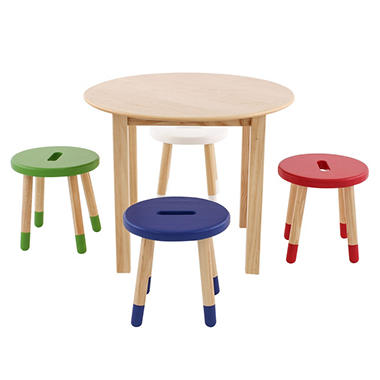 Max & Lily Round Table, Natural +  Toddler Stools  (Blue, Red, Green, White)