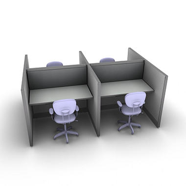 SNAP! Office 4-Person Basic Workstation - Concrete Chic Color Combo