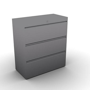 SNAP!Office 3-Drawer Lateral File - Aluminum Gray