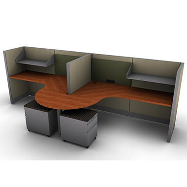 SNAP!Office 2-Person Task Workstation - Urban Jungle Color Combo with Installation