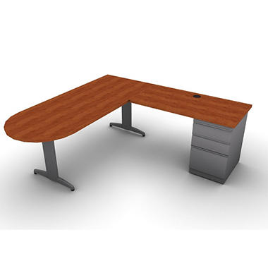 snap office l shaped peninsula d desk return right