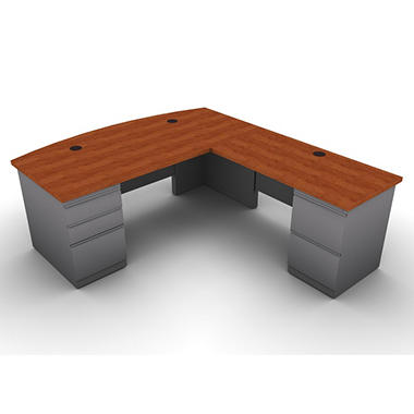 SNAP!Office L-Shaped Single Pedestal Bow Front Desk & Return - Right Hand - Aluminum Gray & Blossom Cherrywood Top