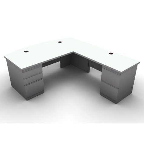 SNAP!Office L-Shaped Single Pedestal Bow Front Desk & Return - Right Hand - Aluminum Gray & Frosty White Top
